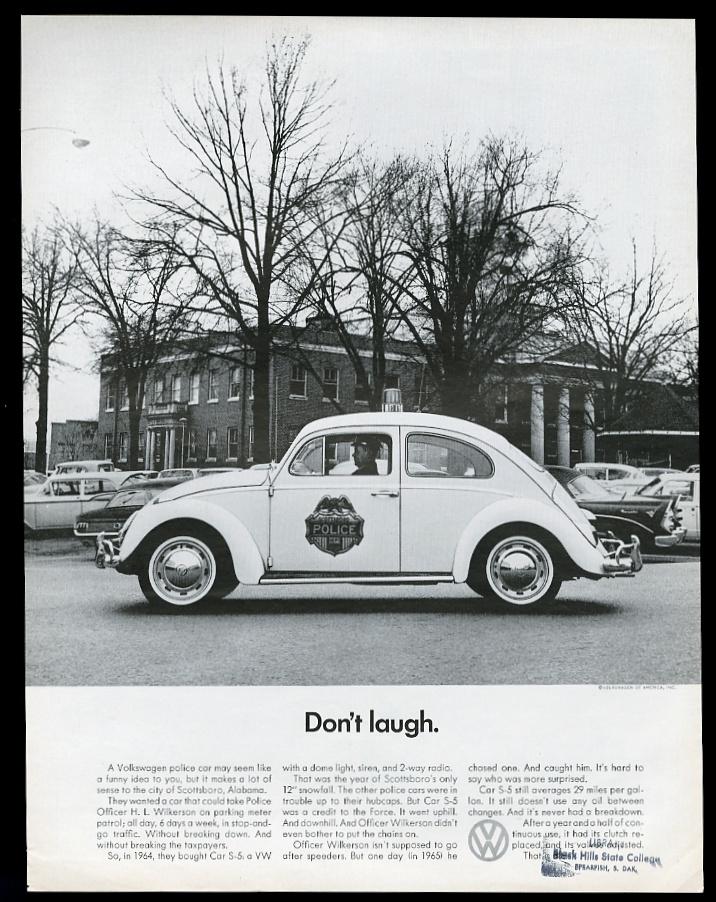 1966年大众汽车大众甲壳虫阿拉巴马州斯科警车照片平面广告高清图片