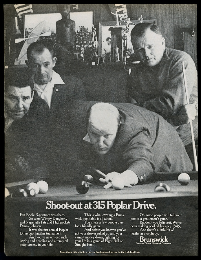 Pool hustler tournament brunswick pool table vintage print for Tv show pool hustlers
