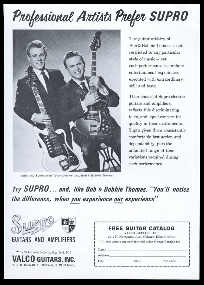 Valco Supro guitar Bob Bobbie Thomas vintage print advertisement