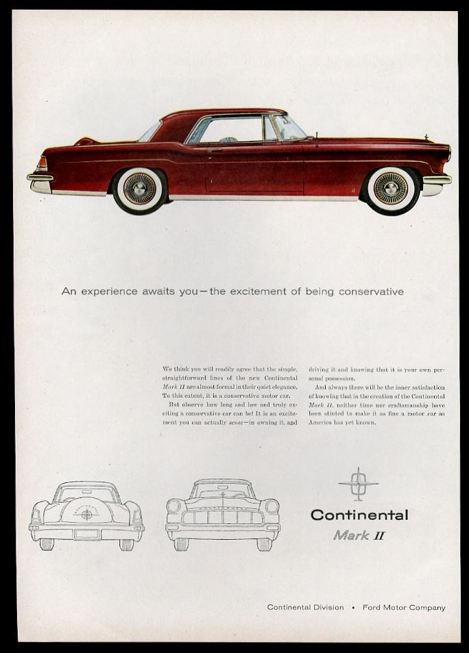 1956 lincoln continental mark ii red car art vintage print. Black Bedroom Furniture Sets. Home Design Ideas
