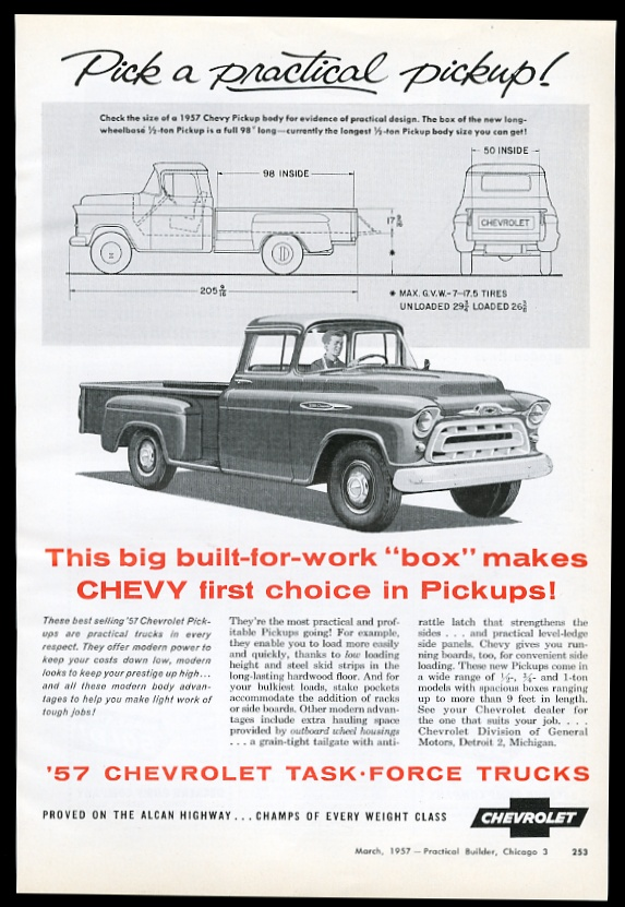 1957 Chevrolet Pickup Truck Art And Diagram Dimensions