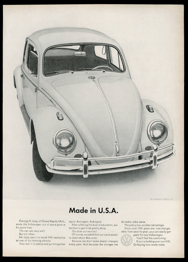vw volkswagen beetle classic car photo   usa vintage print ad ebay