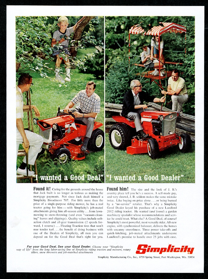 1967 Simplicity tractor riding lawn mower photo vintage ...