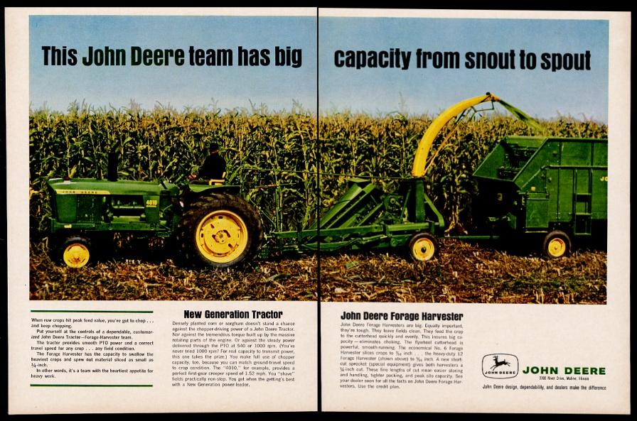 John Deere Tractor Ad : John deere tractor forage harvester farm color