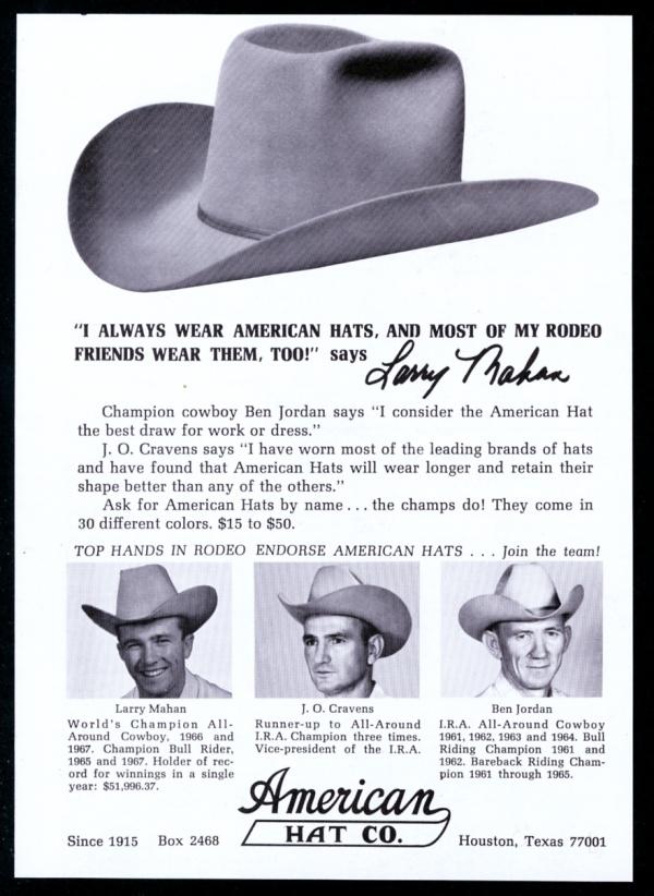 3391936b4c505 Detalles acerca de 1968 Larry Mahan Ben Jordan Foto American Western Cowboy  Sombrero anuncio impreso De Colección- mostrar título original